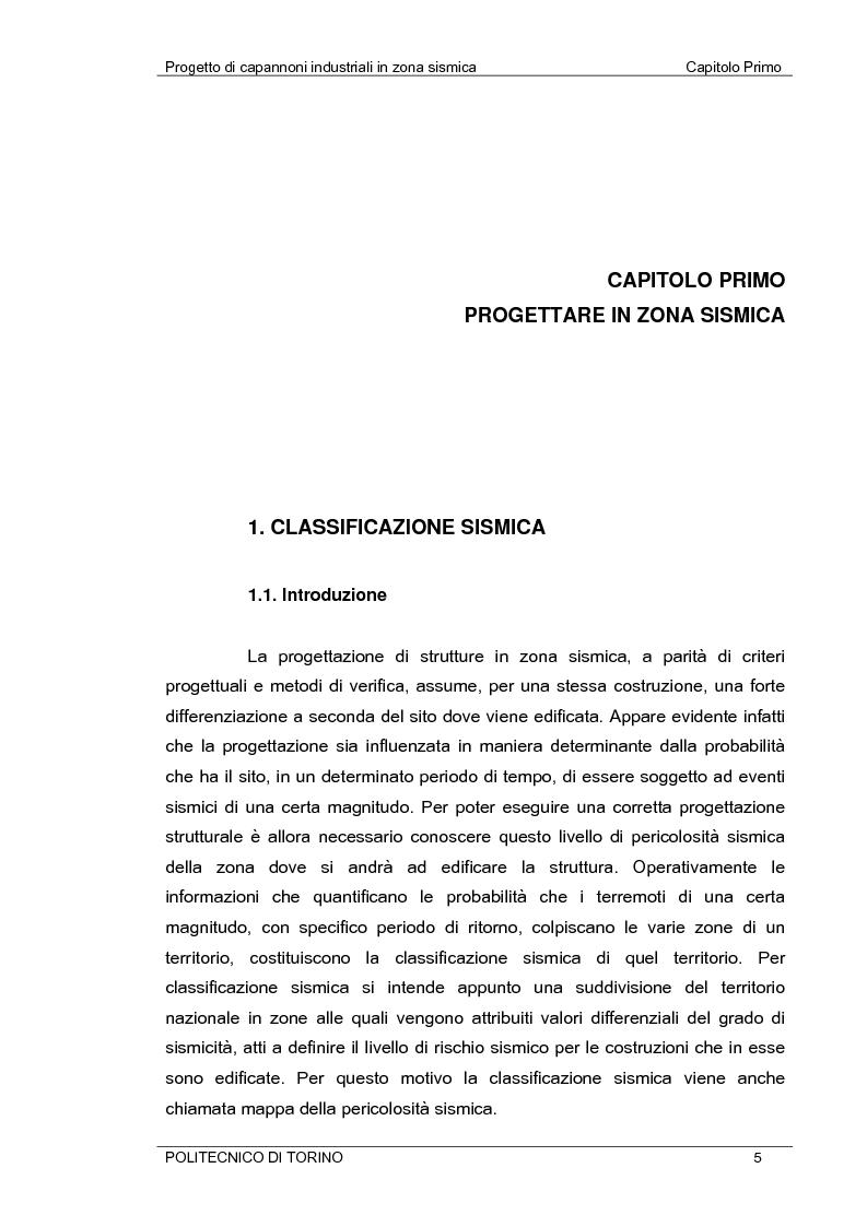 Anteprima della tesi: Progetto di capannoni industriali in zona sismica secondo nuova normativa, Pagina 5