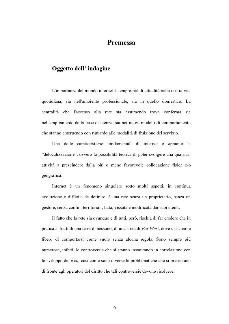 Anteprima della tesi: Internet e illecito civile: la responsabilità derivante dall'uso illecito dei nomi di dominio, Pagina 1