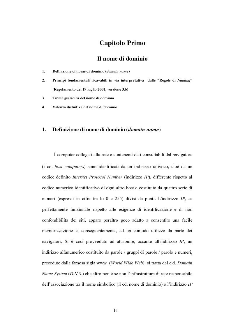 Anteprima della tesi: Internet e illecito civile: la responsabilità derivante dall'uso illecito dei nomi di dominio, Pagina 6