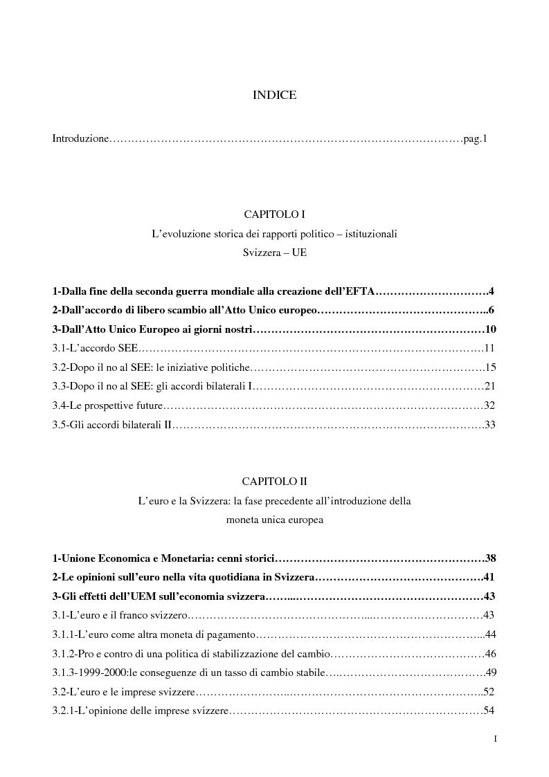 Indice della tesi: Relazioni economiche Svizzera-EU: le conseguenze dell'adozione dell'Euro, Pagina 1
