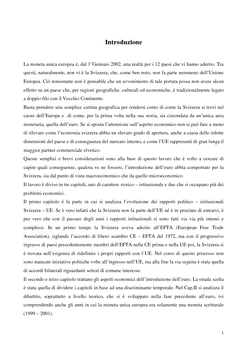 Anteprima della tesi: Relazioni economiche Svizzera-EU: le conseguenze dell'adozione dell'Euro, Pagina 1