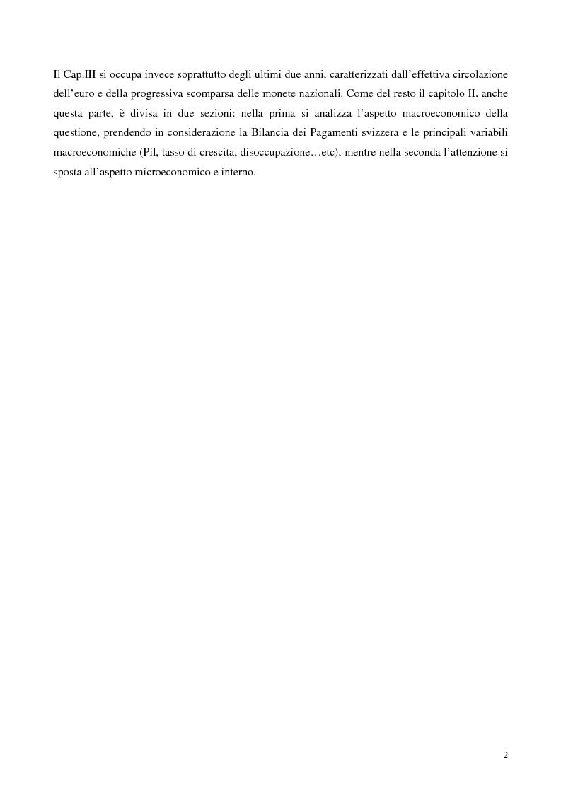 Anteprima della tesi: Relazioni economiche Svizzera-EU: le conseguenze dell'adozione dell'Euro, Pagina 2