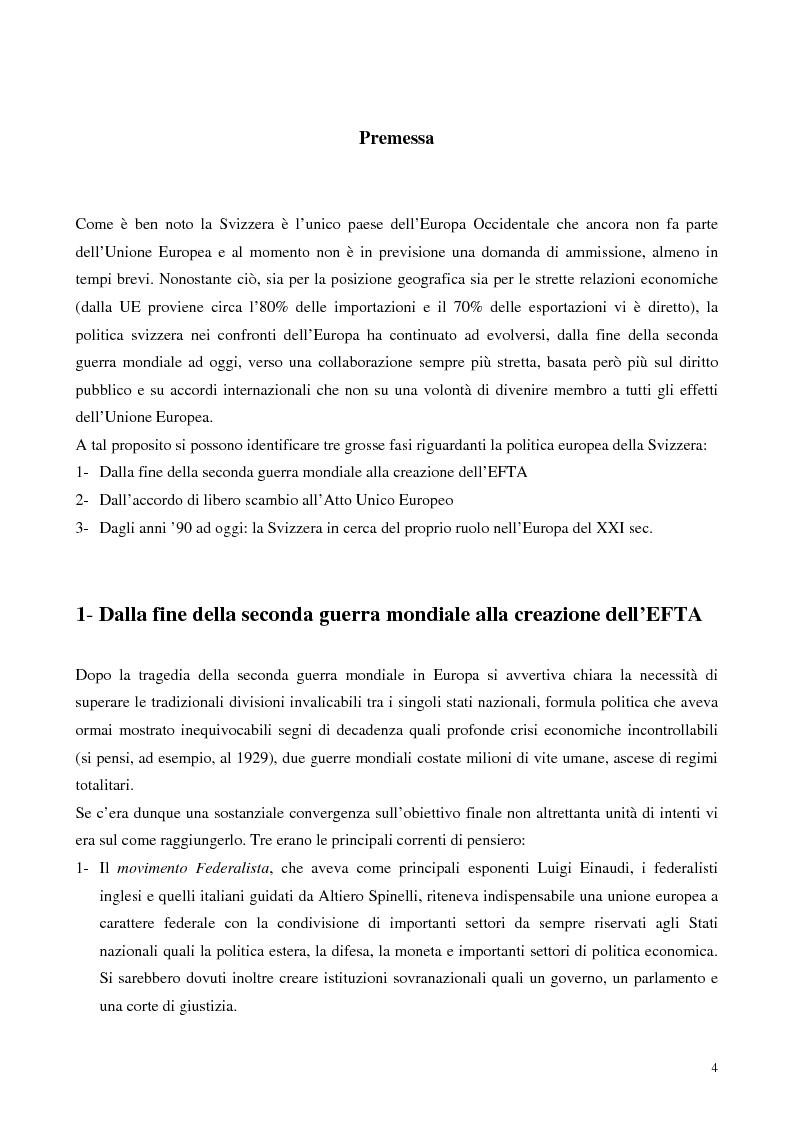 Anteprima della tesi: Relazioni economiche Svizzera-EU: le conseguenze dell'adozione dell'Euro, Pagina 4