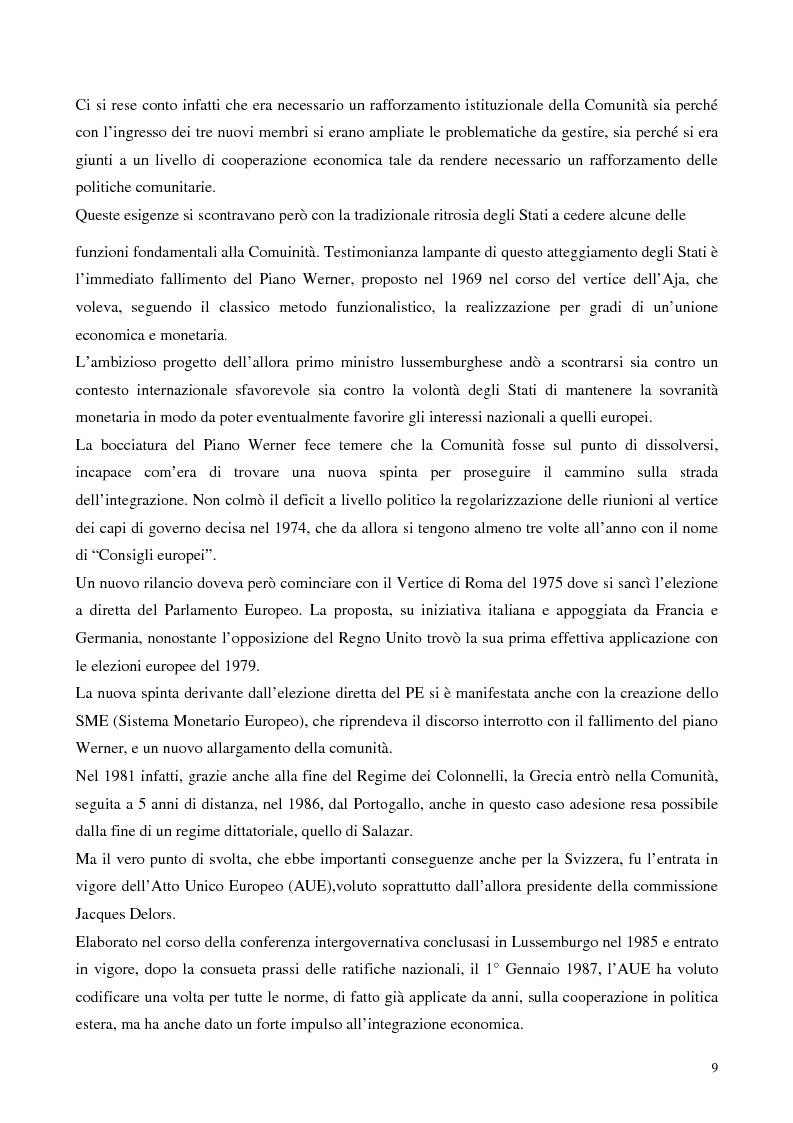 Anteprima della tesi: Relazioni economiche Svizzera-EU: le conseguenze dell'adozione dell'Euro, Pagina 9