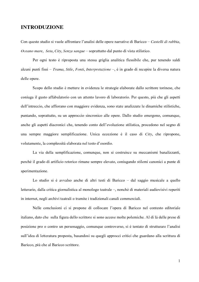 Anteprima della tesi: Il piacere della lettura: evocazioni letterarie e vocazione musicale. La narrativa di Alessandro Baricco, Pagina 1