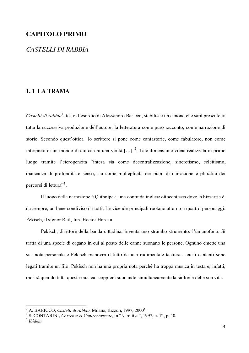 Anteprima della tesi: Il piacere della lettura: evocazioni letterarie e vocazione musicale. La narrativa di Alessandro Baricco, Pagina 4