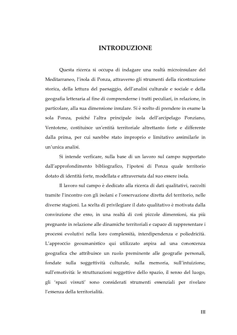 Anteprima della tesi: Memorie d'isola. Abitanti, turisti e confinati a Ponza., Pagina 1