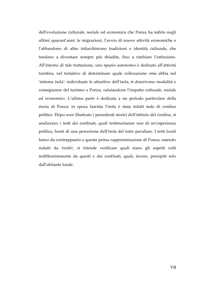 Anteprima della tesi: Memorie d'isola. Abitanti, turisti e confinati a Ponza., Pagina 5