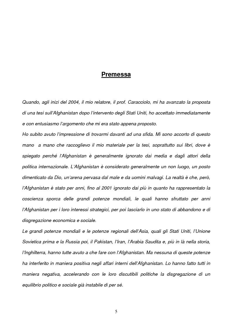 Anteprima della tesi: L'Afghanistan dopo la caduta dei Talebani, Pagina 1