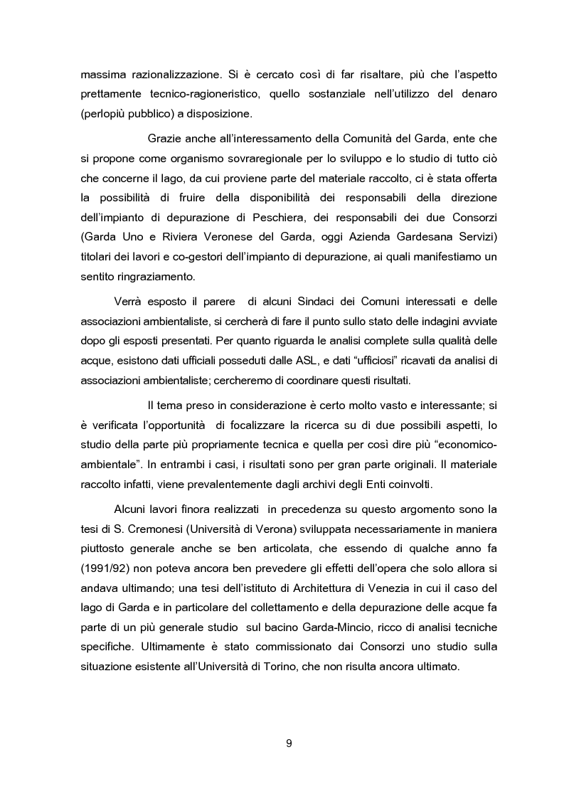 Anteprima della tesi: Impianti di collettamento e depurazione del Lago di Garda - Aspetti tecnici, economici e ambientali, Pagina 4