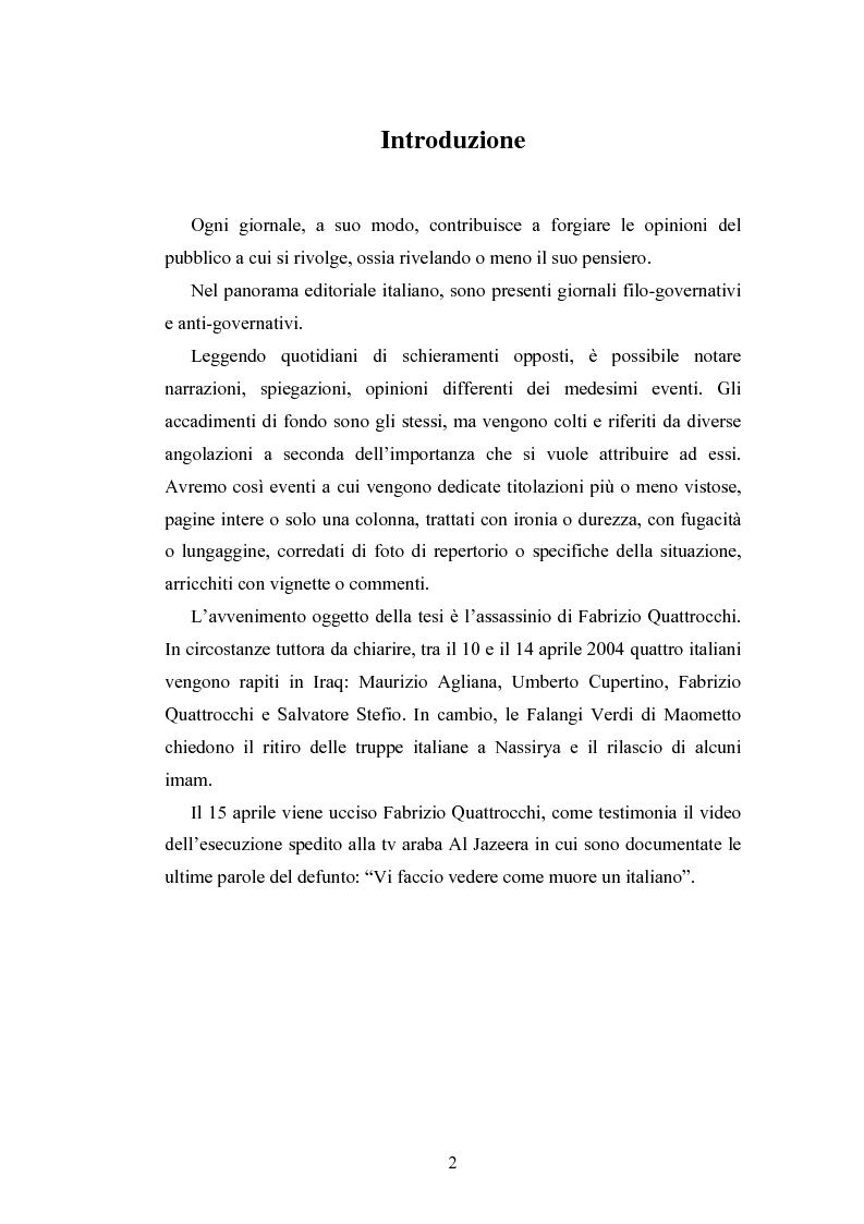 Anteprima della tesi: La costruzione sociale di un eroe attraverso la stampa quotidiana. Il caso Fabrizio Quattrocchi, Pagina 1
