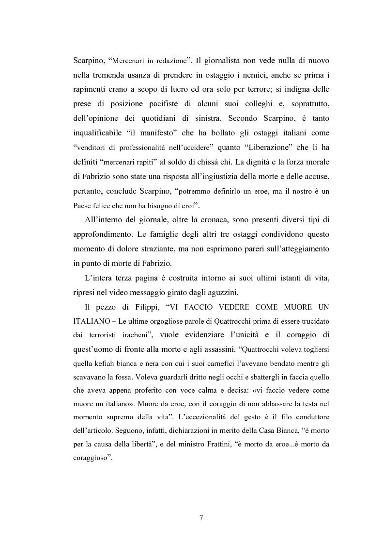 Anteprima della tesi: La costruzione sociale di un eroe attraverso la stampa quotidiana. Il caso Fabrizio Quattrocchi, Pagina 6