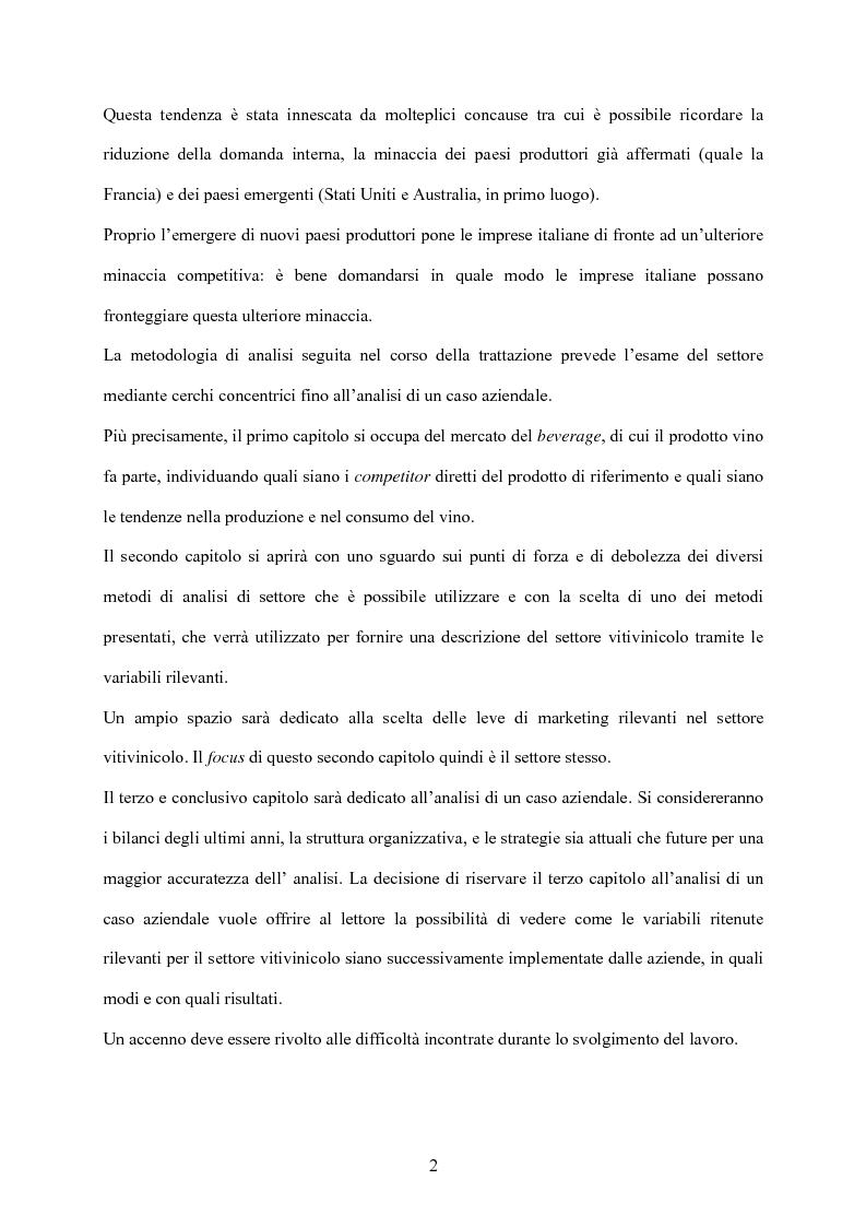 Anteprima della tesi: Strategia d'impresa e analisi di settore: il caso Michele Chiarlo S.r.l., Pagina 2