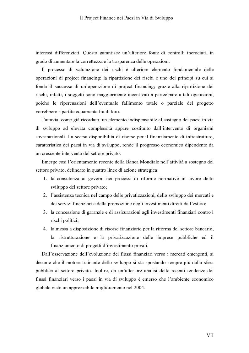 Anteprima della tesi: Il Project finance nei paesi in via di sviluppo, Pagina 5
