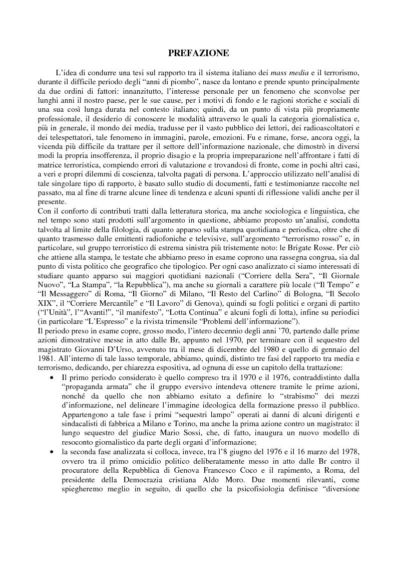 Anteprima della tesi: Quando i media staccano la spina. Storia del blackout informativo durante gli ''anni di piombo'', Pagina 1