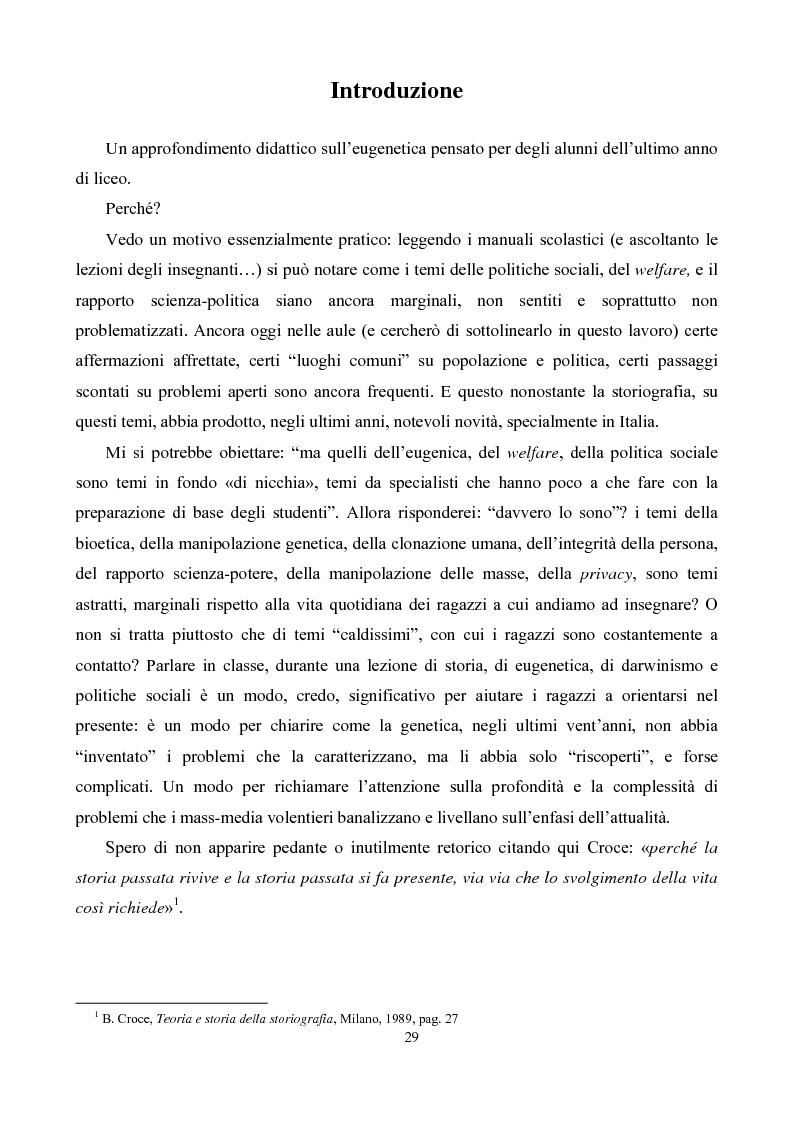 Anteprima della tesi: Eugenetica e politica nella prima metà del XX secolo, Pagina 1