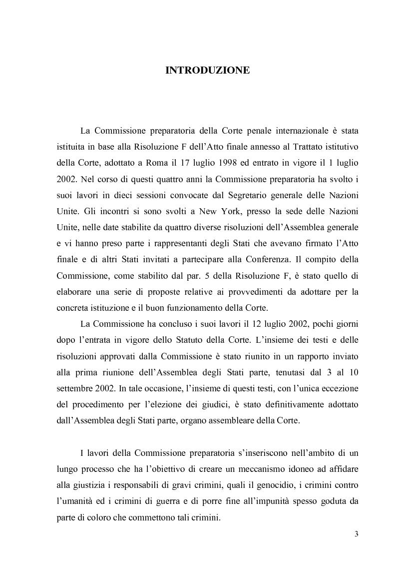 Anteprima della tesi: La Commissione preparatoria della Corte penale internazionale, Pagina 1