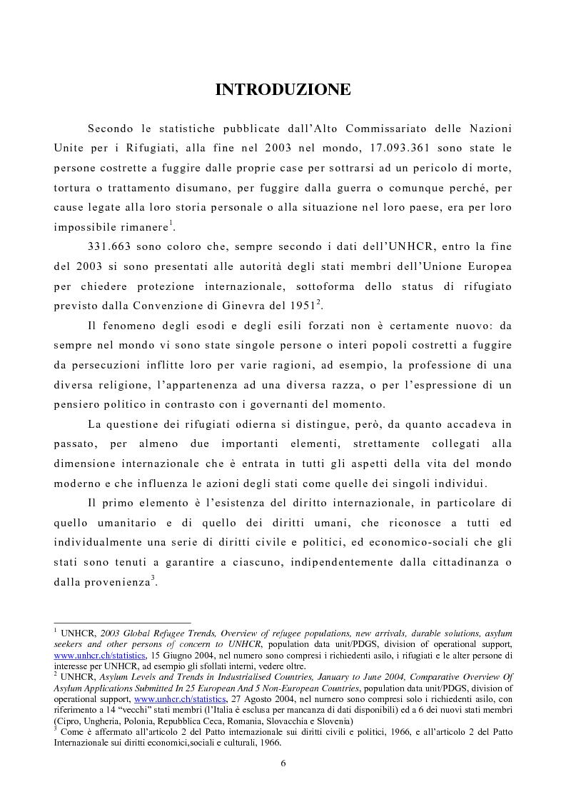 Anteprima della tesi: Lo Status di Rifugiato nell'Unione Europea, Pagina 1