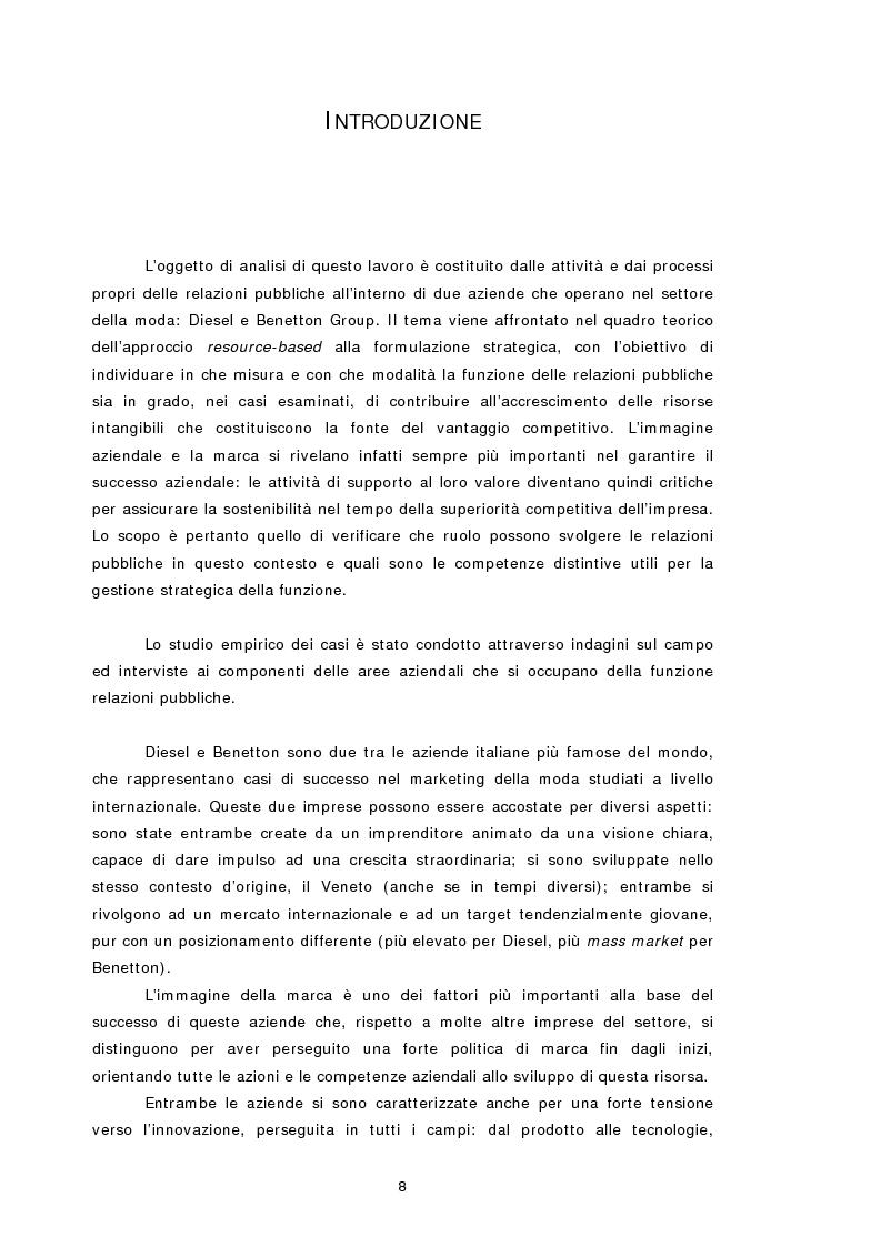 Anteprima della tesi: Relazioni pubbliche e vantaggio competitivo. I casi Diesel e Benetton, Pagina 1