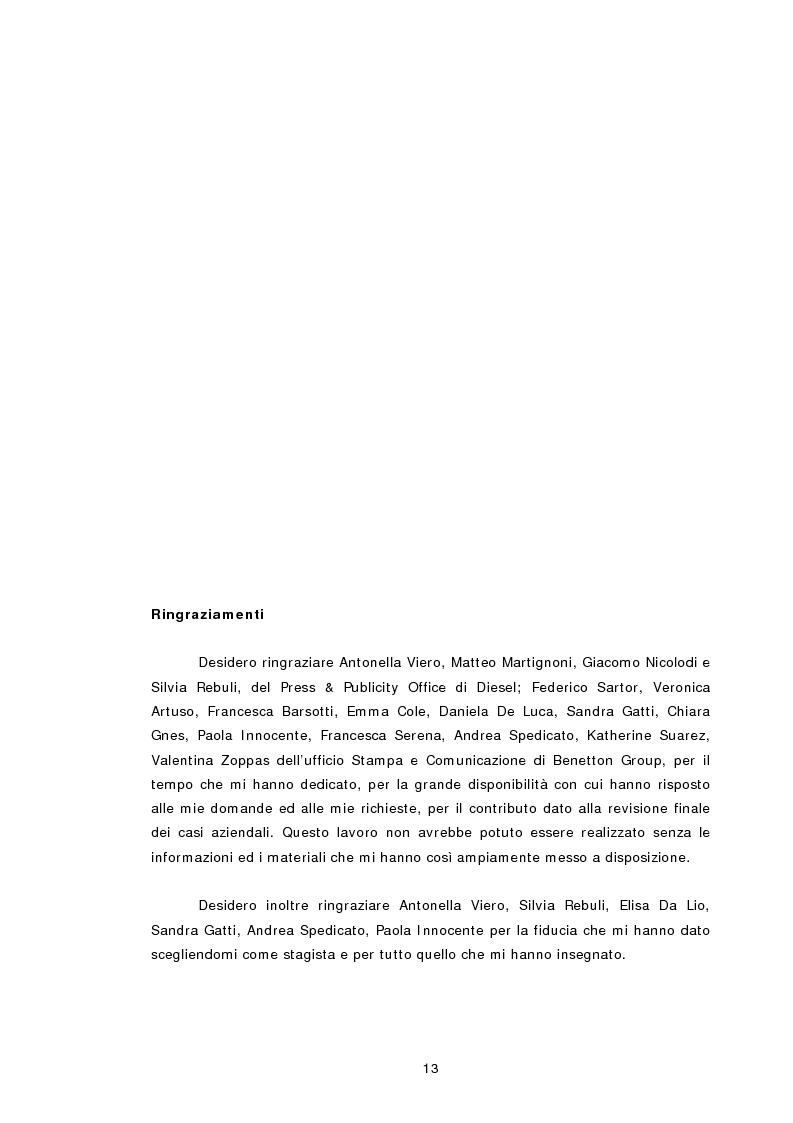 Anteprima della tesi: Relazioni pubbliche e vantaggio competitivo. I casi Diesel e Benetton, Pagina 6