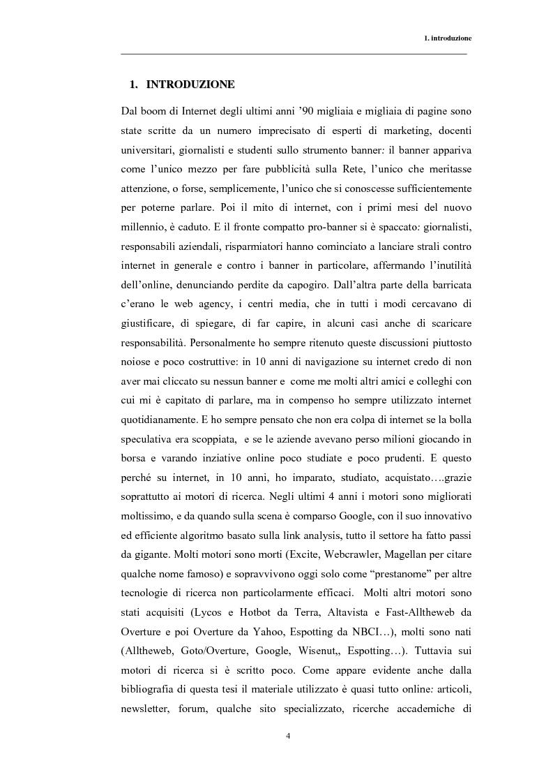Anteprima della tesi: Posizionamento sui Motori di Ricerca: ''opinione del web'' e strumento di marketing, Pagina 1