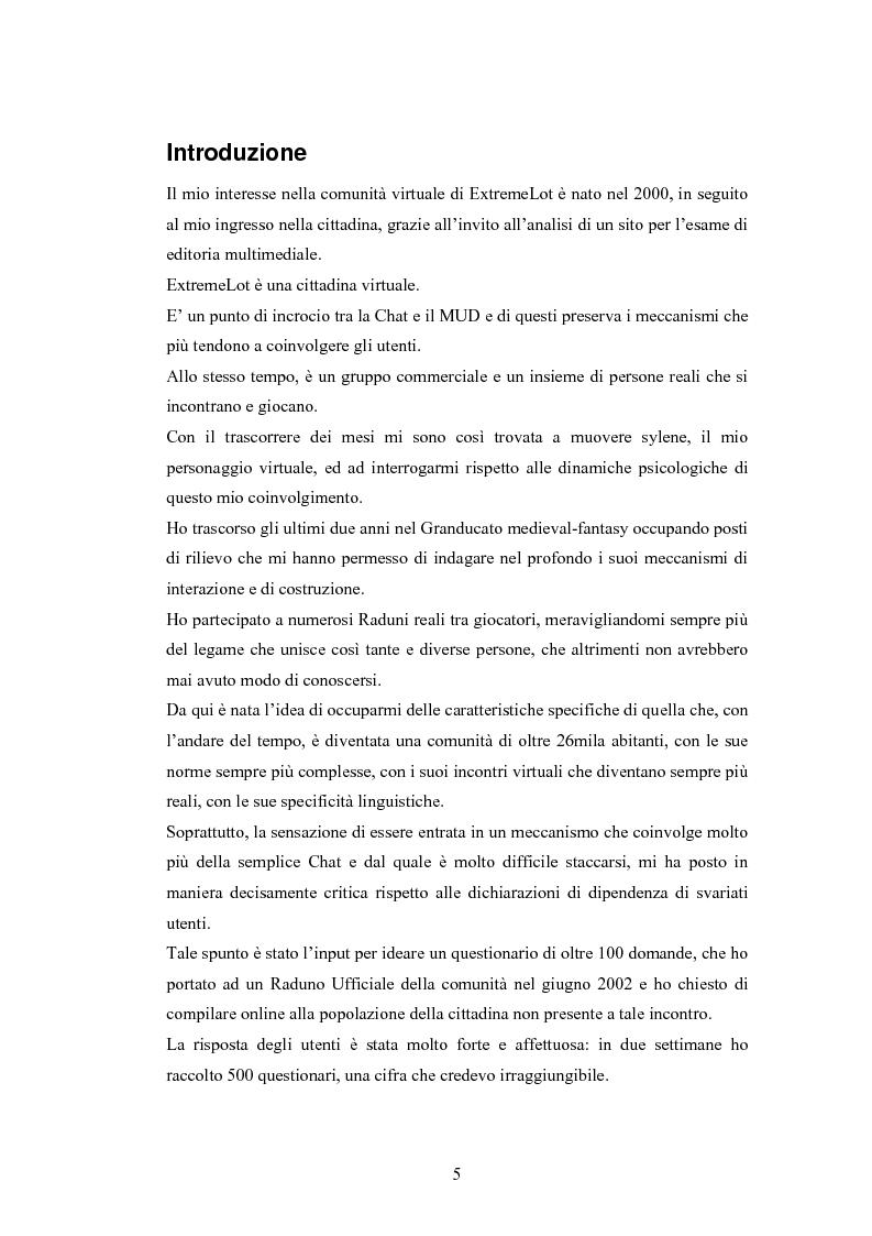 Anteprima della tesi: Analisi di una comunità virtuale: il caso Extremelot, Pagina 1
