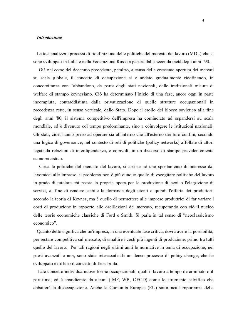 Anteprima della tesi: Policy Transfer e Politiche del Mercato del Lavoro in Italia e in Russia, Pagina 1