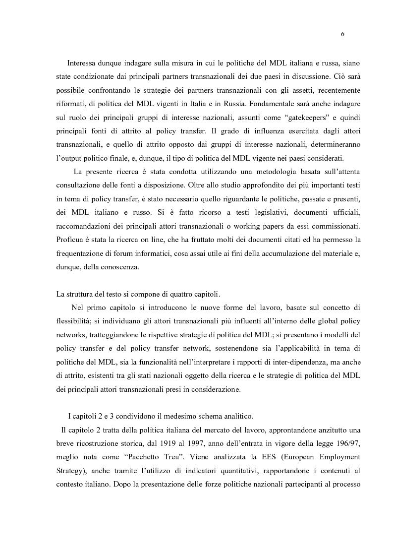 Anteprima della tesi: Policy Transfer e Politiche del Mercato del Lavoro in Italia e in Russia, Pagina 3