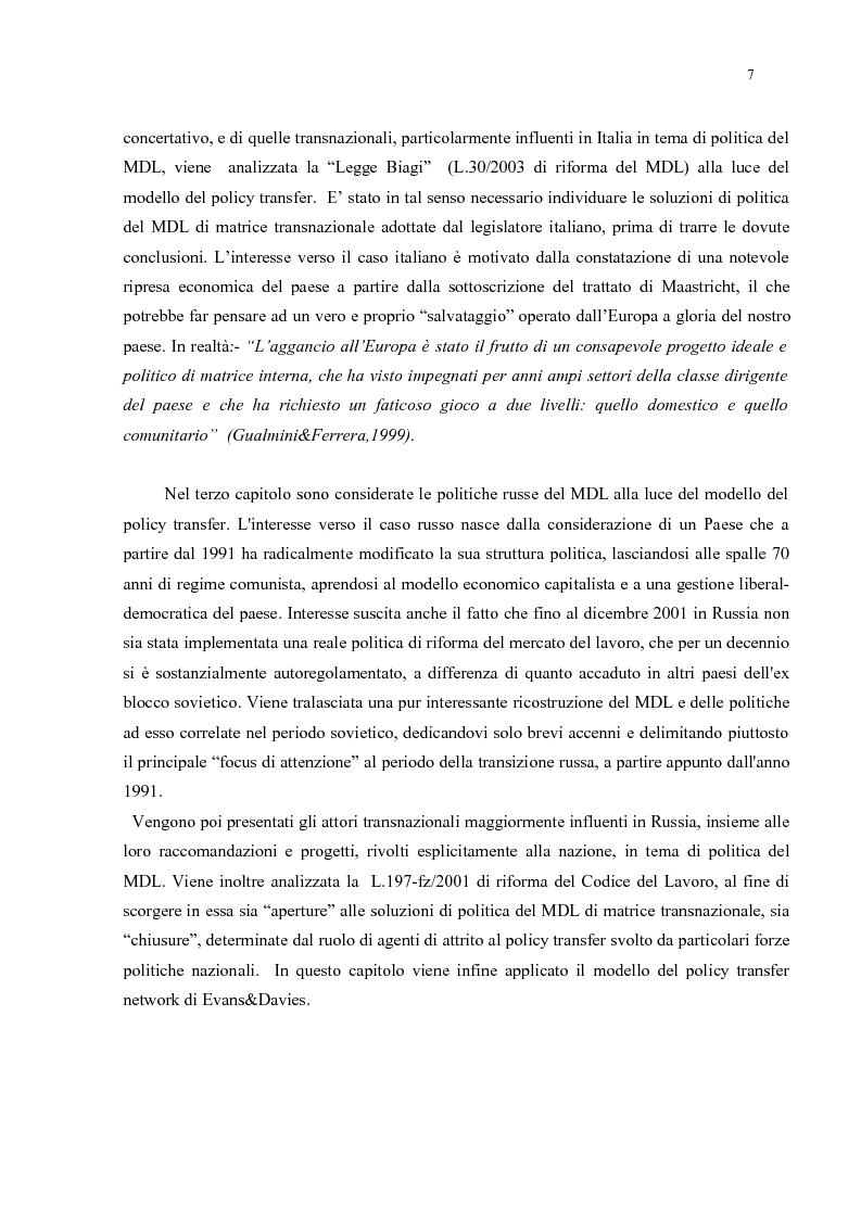 Anteprima della tesi: Policy Transfer e Politiche del Mercato del Lavoro in Italia e in Russia, Pagina 4