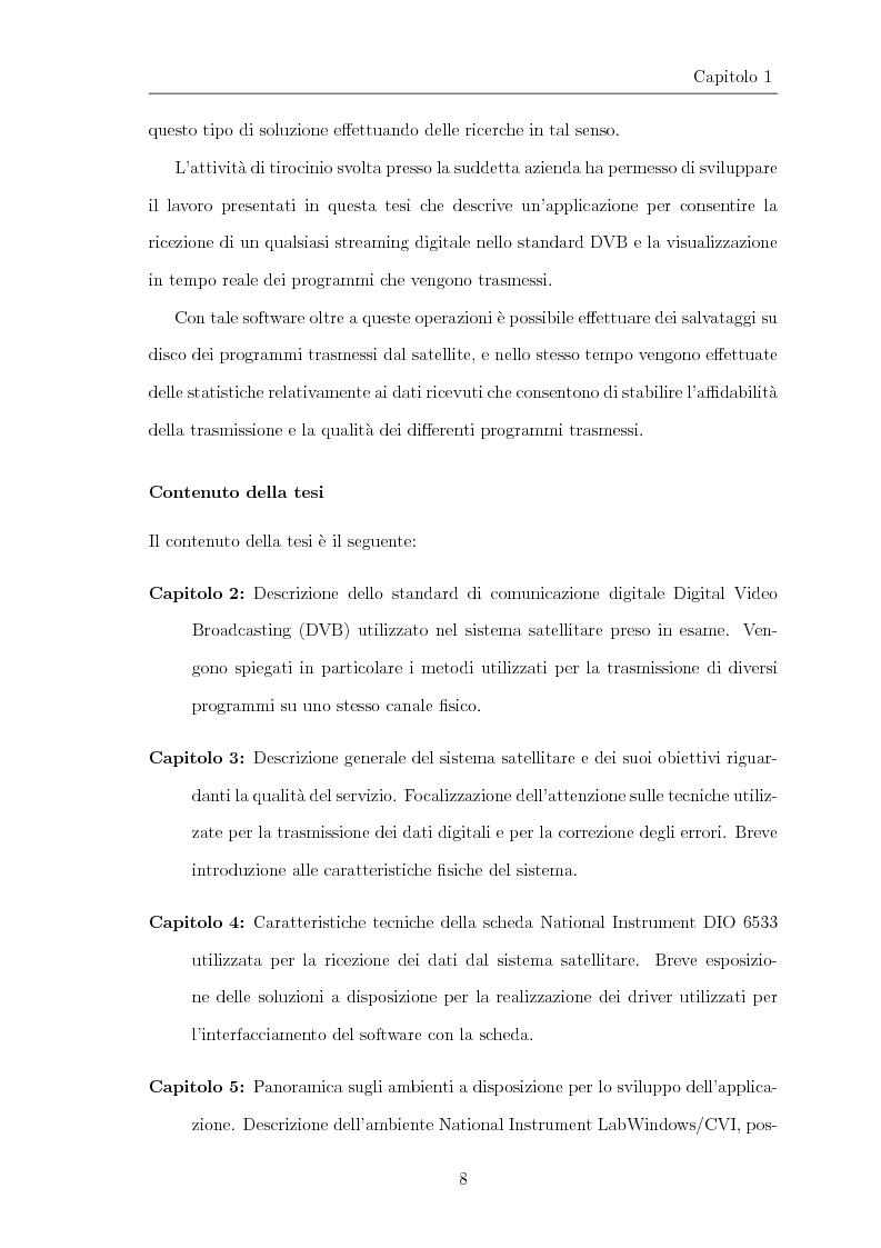 Anteprima della tesi: Progettazione e realizzazione di software per l'analisi di streaming digitale DVB, Pagina 3