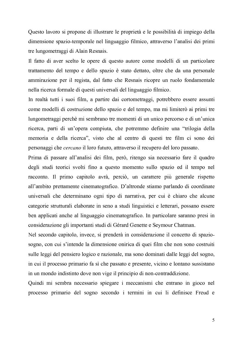Anteprima della tesi: Lo spazio e il tempo nel cinema di Alain Resnais: Hiroshima mon amour, L'année dernière a Marienbad e Muriel., Pagina 2