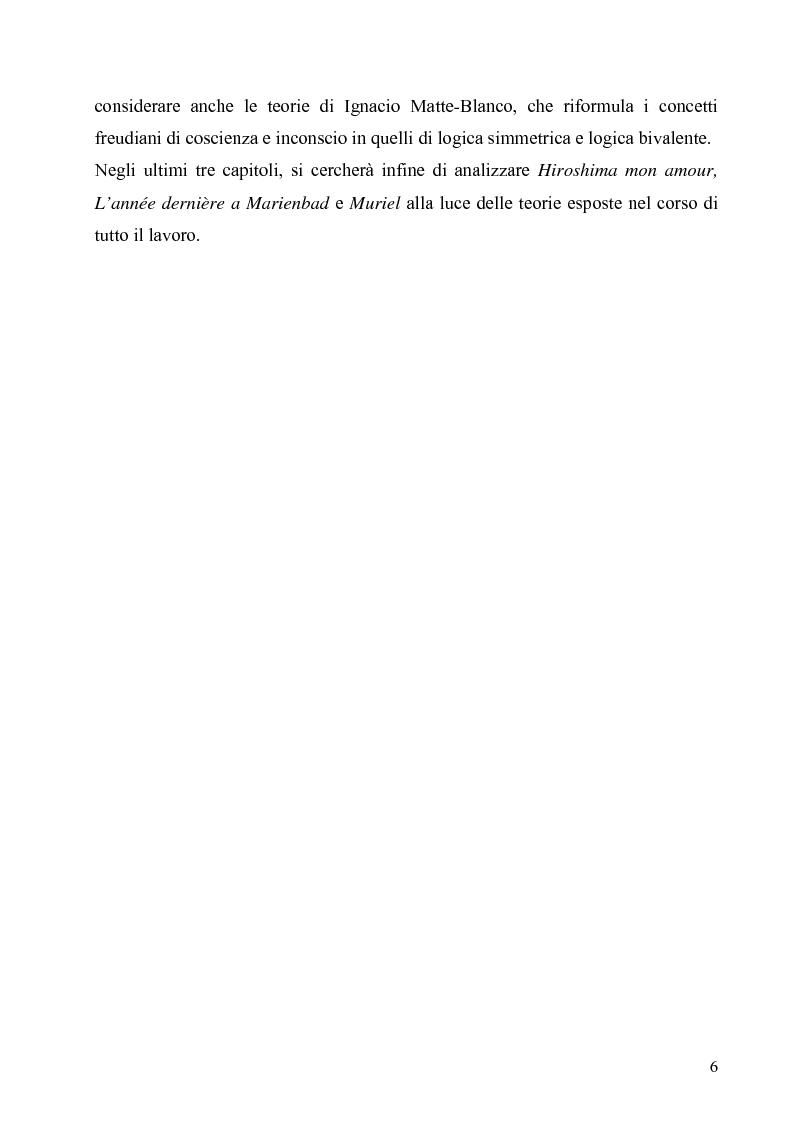 Anteprima della tesi: Lo spazio e il tempo nel cinema di Alain Resnais: Hiroshima mon amour, L'année dernière a Marienbad e Muriel., Pagina 3