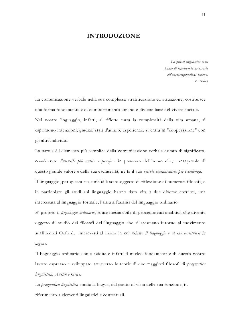 Anteprima della tesi: La pragmatica linguistica. Austin e Grice, Pagina 1