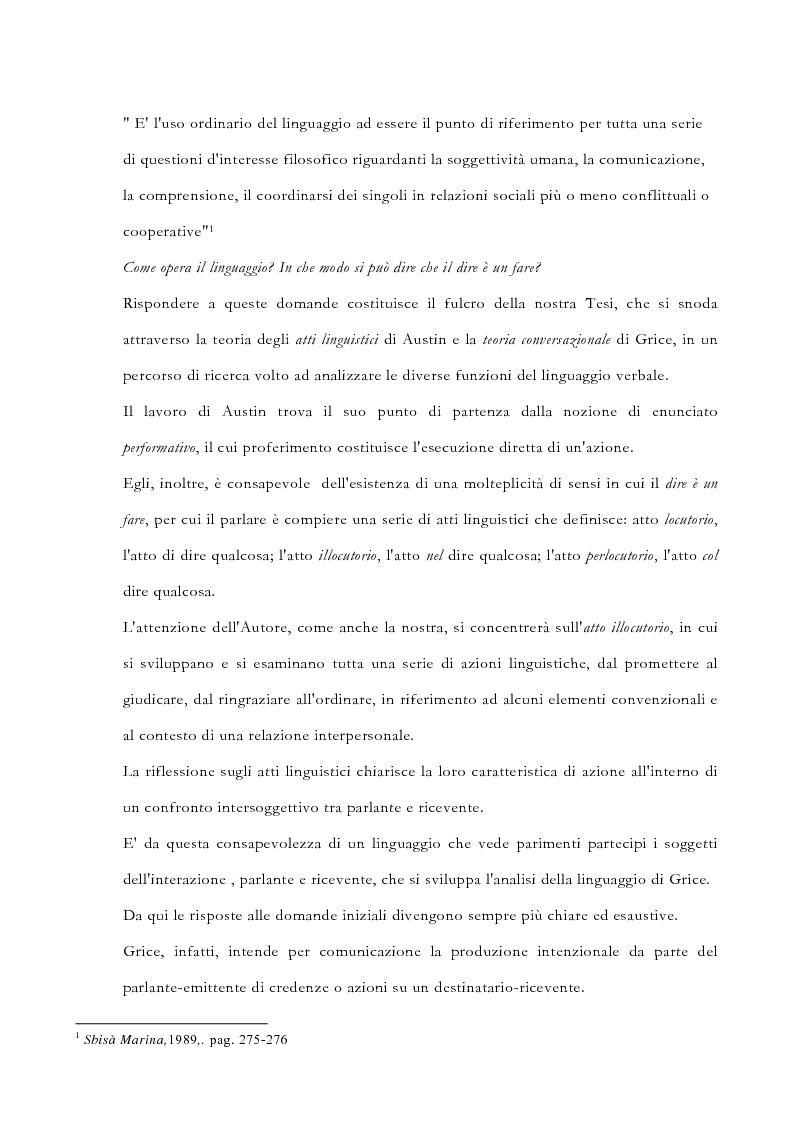 Anteprima della tesi: La pragmatica linguistica. Austin e Grice, Pagina 2