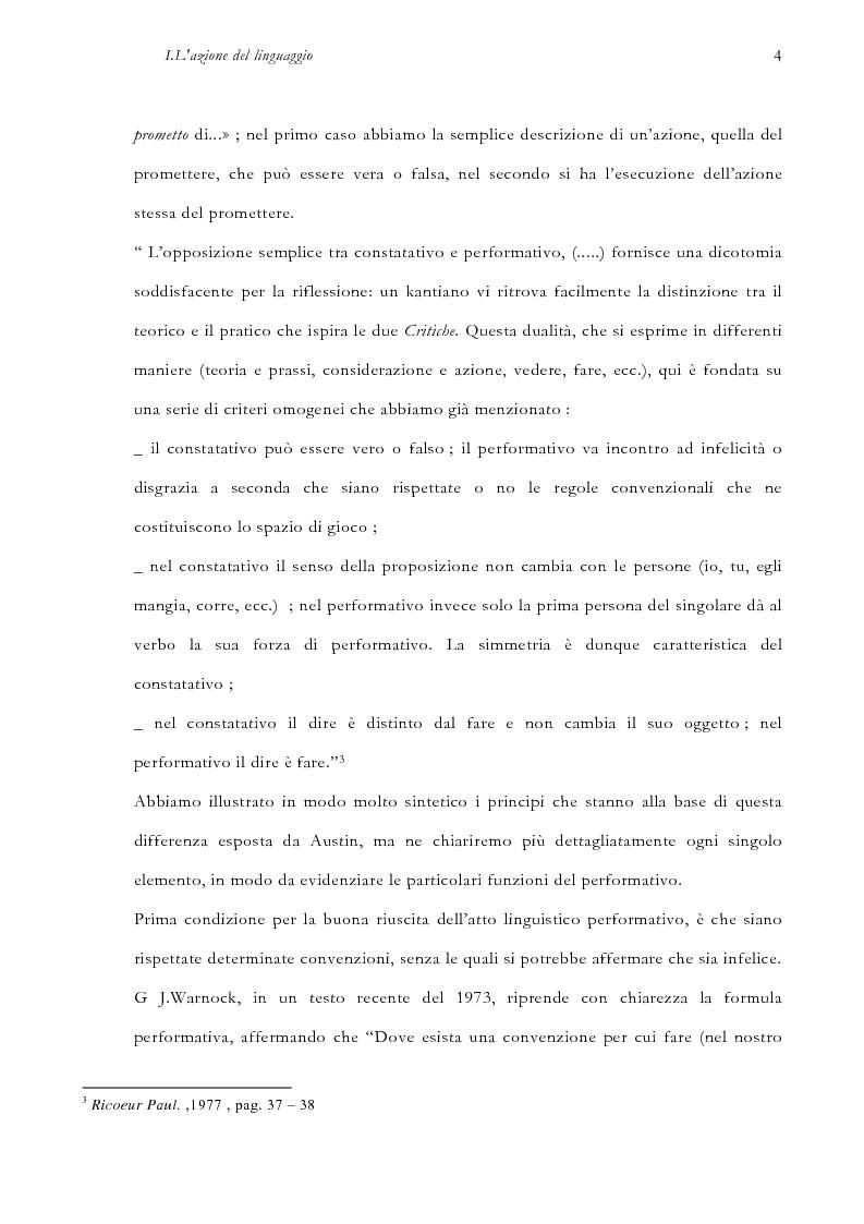Anteprima della tesi: La pragmatica linguistica. Austin e Grice, Pagina 7