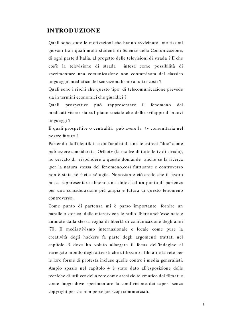 Anteprima della tesi: Telestreet: Il vero elisir della libertà di comunicazione?, Pagina 1