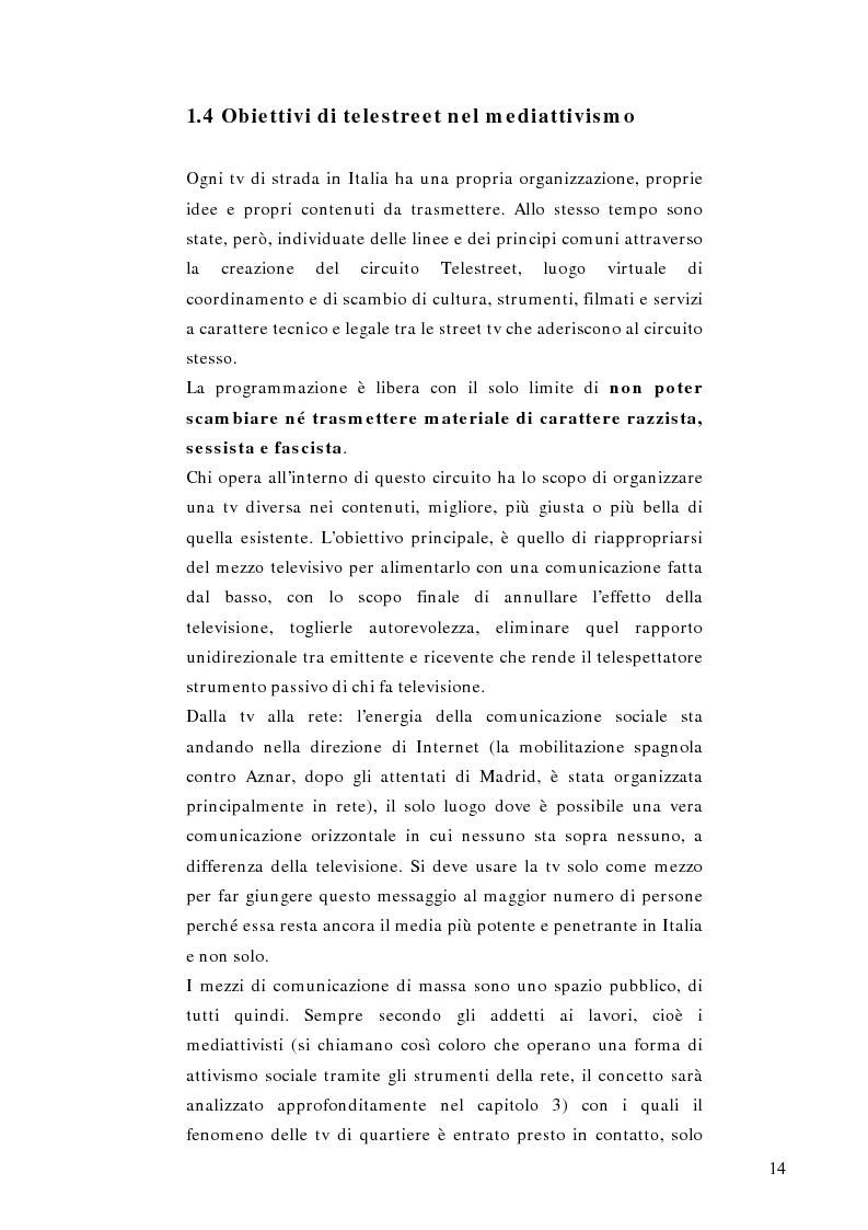 Anteprima della tesi: Telestreet: Il vero elisir della libertà di comunicazione?, Pagina 14