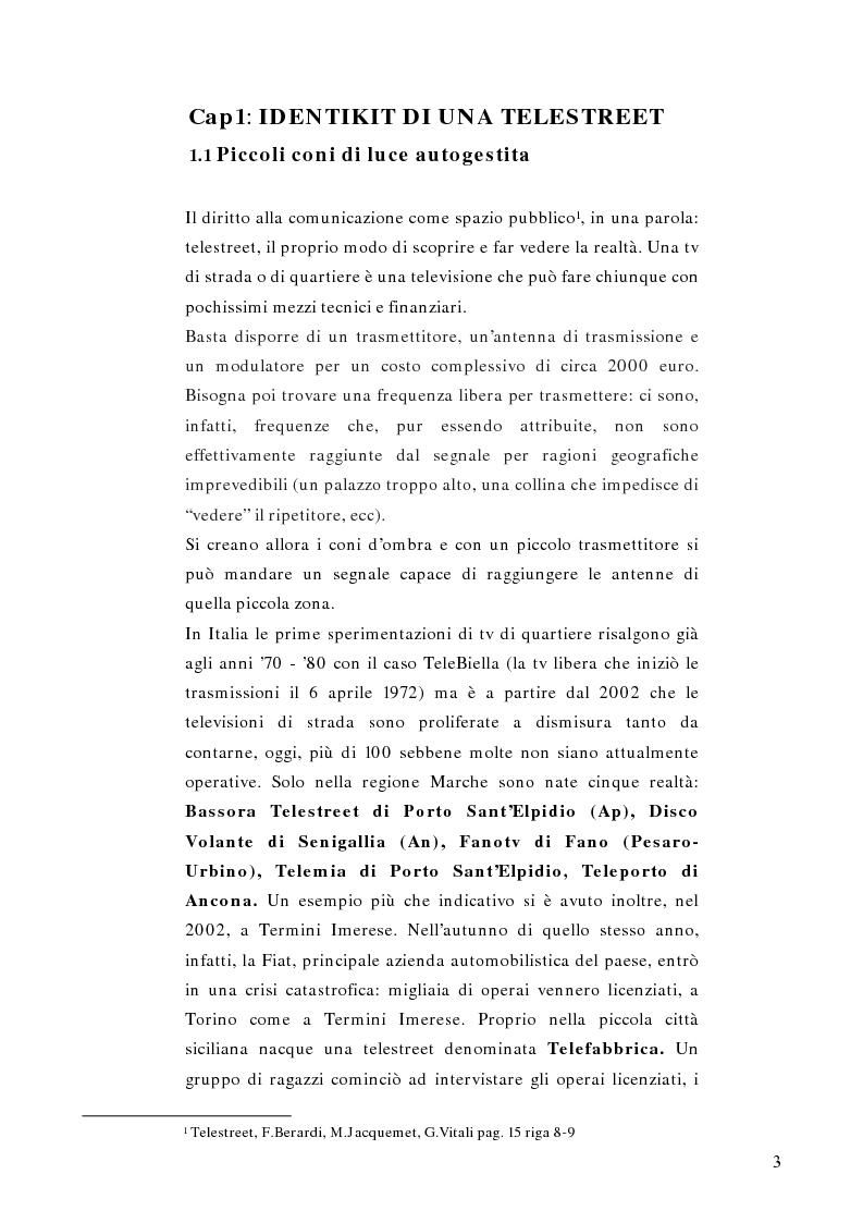 Anteprima della tesi: Telestreet: Il vero elisir della libertà di comunicazione?, Pagina 3
