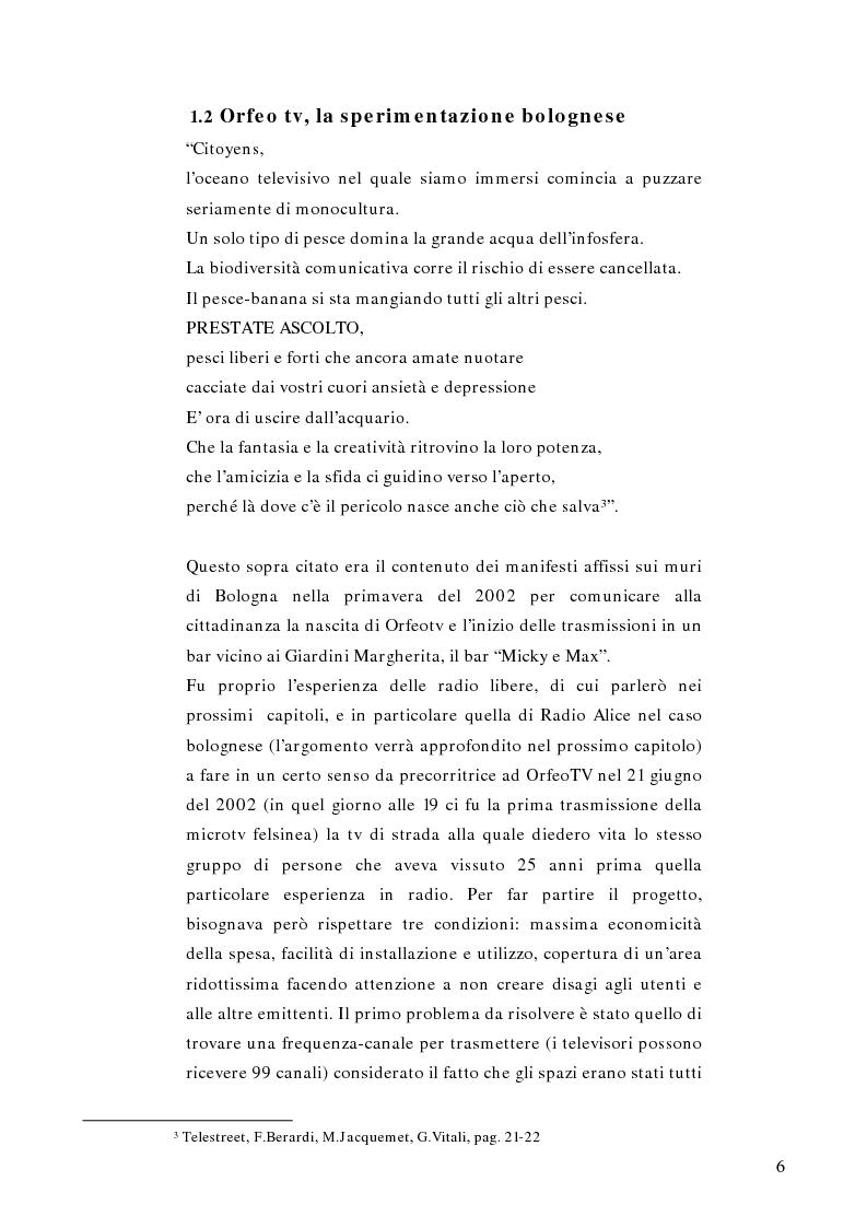 Anteprima della tesi: Telestreet: Il vero elisir della libertà di comunicazione?, Pagina 6
