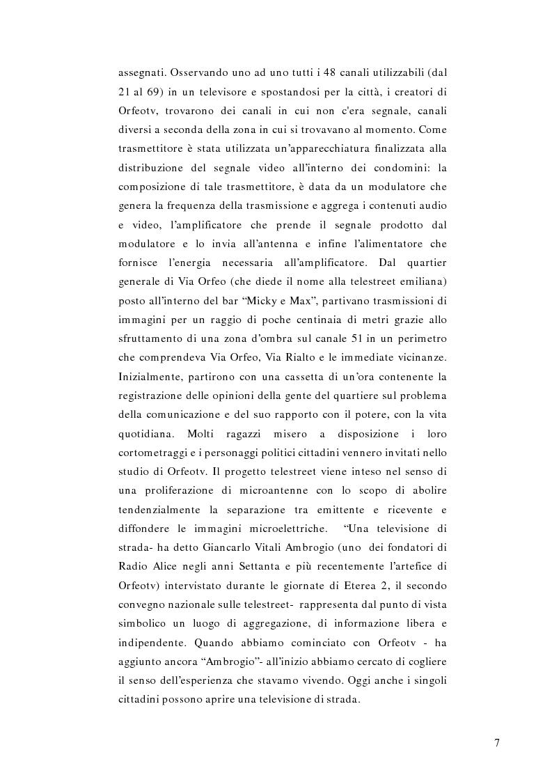 Anteprima della tesi: Telestreet: Il vero elisir della libertà di comunicazione?, Pagina 7