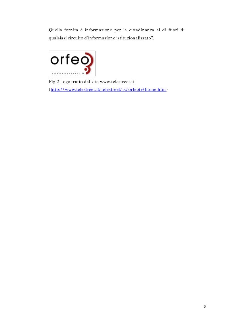Anteprima della tesi: Telestreet: Il vero elisir della libertà di comunicazione?, Pagina 8