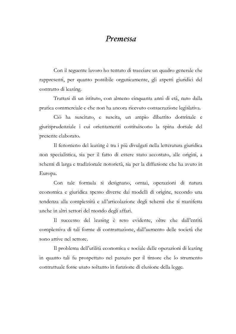 Anteprima della tesi: Il contratto di leasing, Pagina 1