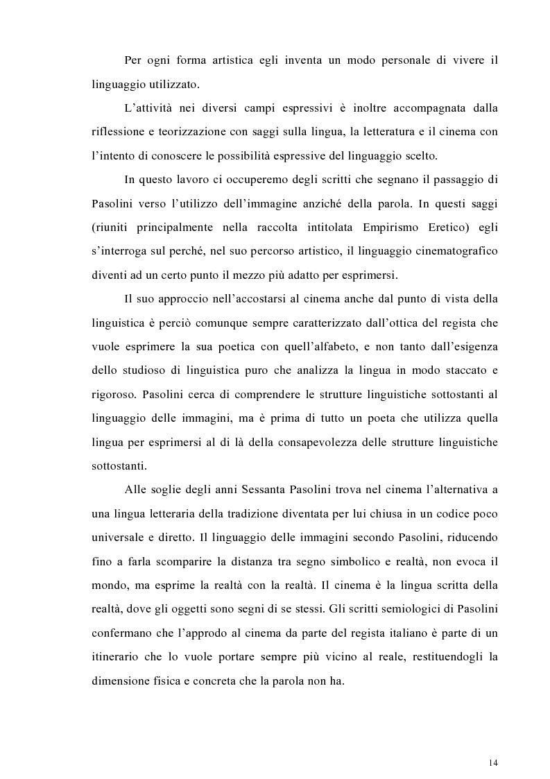 Anteprima della tesi: Il cinema come lingua scritta della realtà. La riflessione di Pier Paolo Pasolini sul linguaggio cinematografico e il suo rapporto con la fenomenologia, Pagina 11