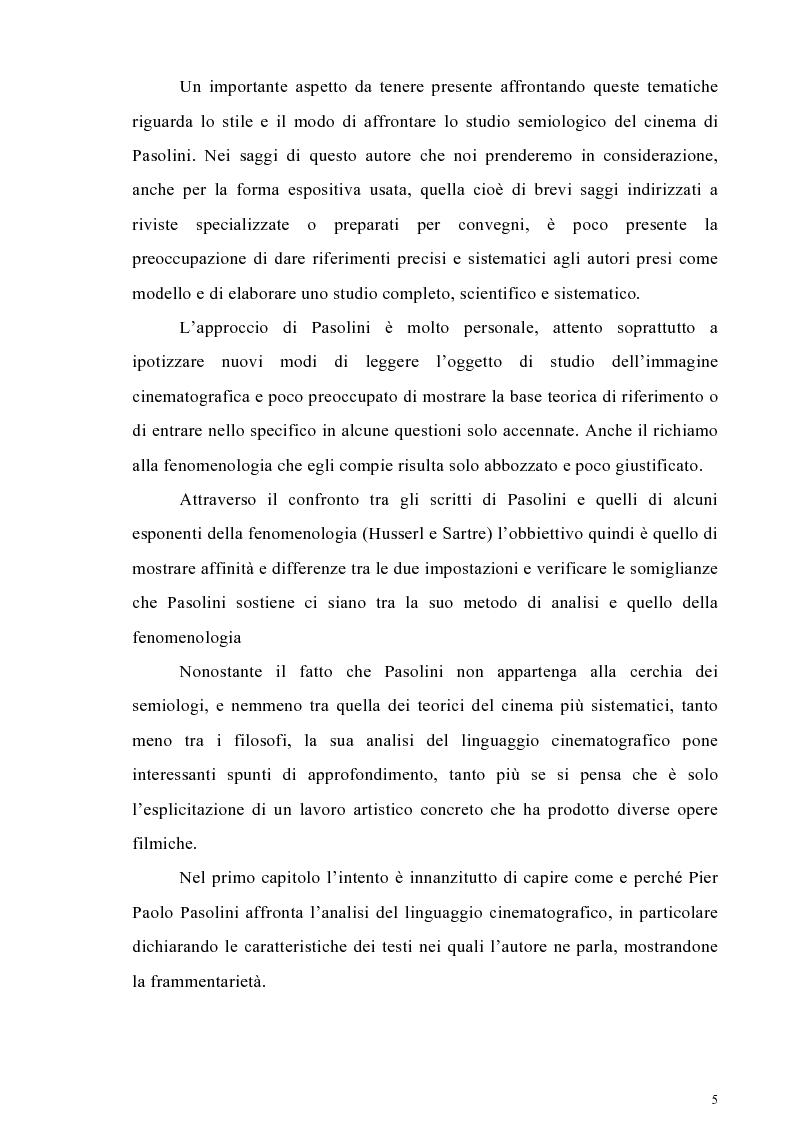 Anteprima della tesi: Il cinema come lingua scritta della realtà. La riflessione di Pier Paolo Pasolini sul linguaggio cinematografico e il suo rapporto con la fenomenologia, Pagina 2