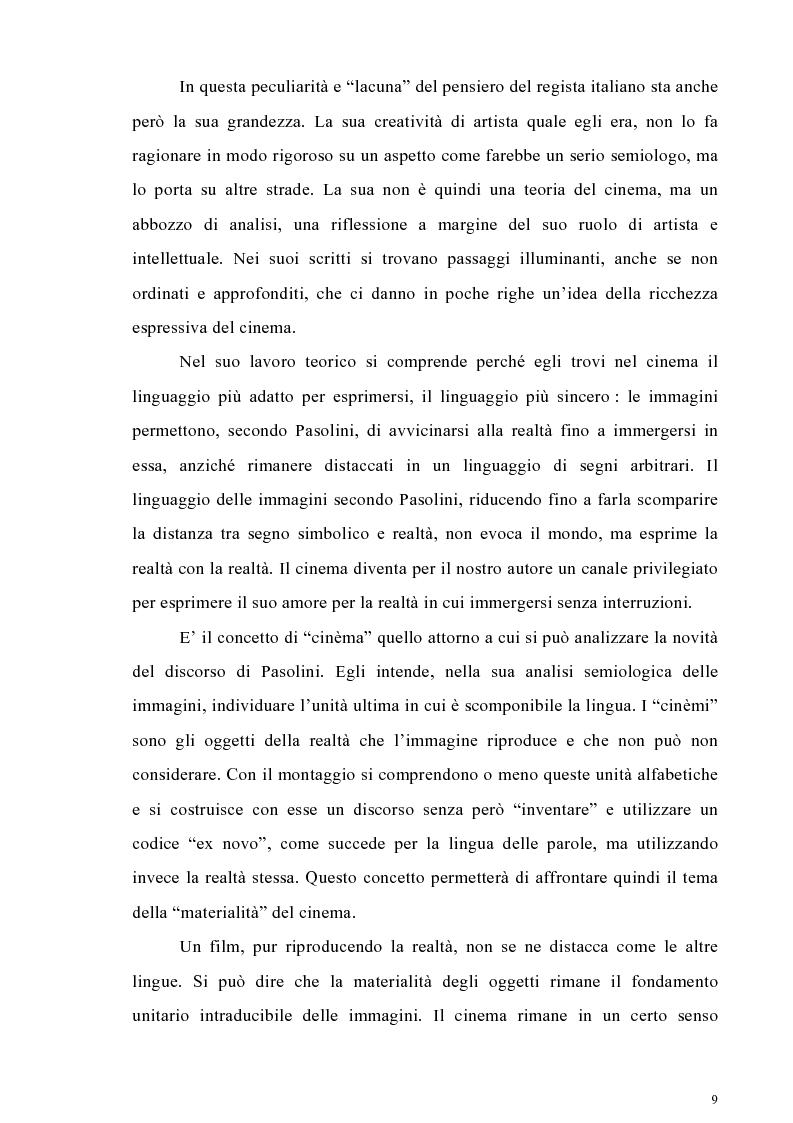 Anteprima della tesi: Il cinema come lingua scritta della realtà. La riflessione di Pier Paolo Pasolini sul linguaggio cinematografico e il suo rapporto con la fenomenologia, Pagina 6