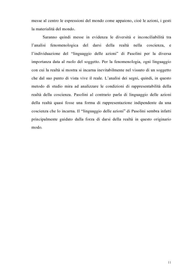 Anteprima della tesi: Il cinema come lingua scritta della realtà. La riflessione di Pier Paolo Pasolini sul linguaggio cinematografico e il suo rapporto con la fenomenologia, Pagina 8