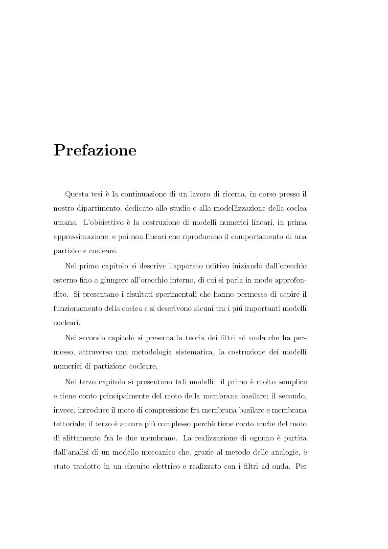 Anteprima della tesi: Modelli lineari e non lineari di partizione cocleare: loro realizzazione con filtri ad onda, Pagina 1