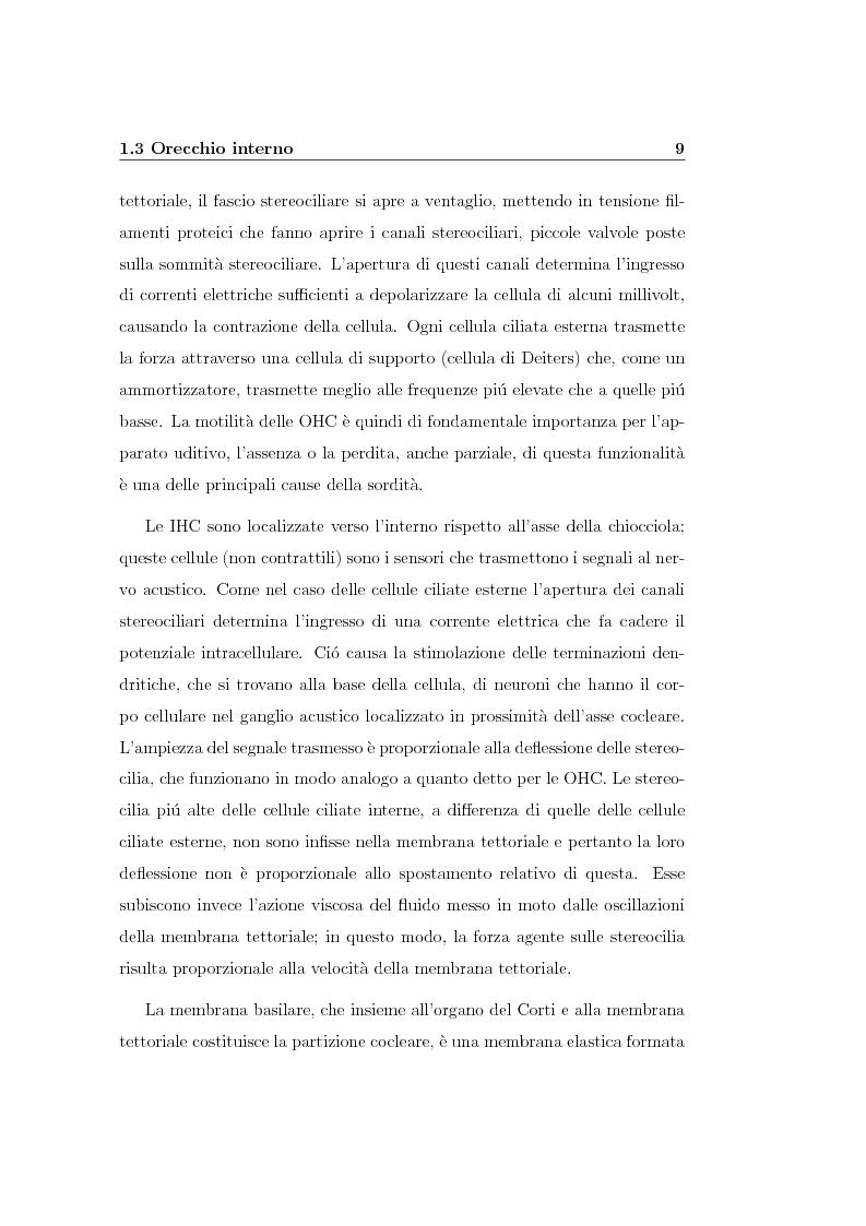 Anteprima della tesi: Modelli lineari e non lineari di partizione cocleare: loro realizzazione con filtri ad onda, Pagina 11