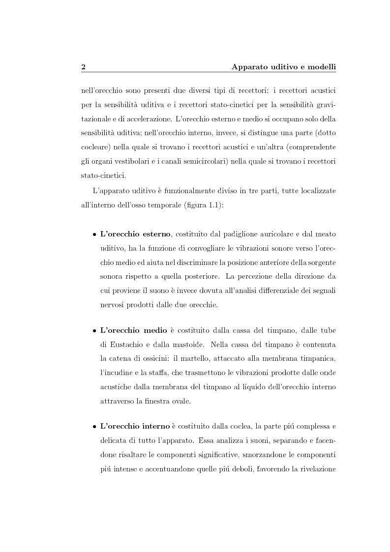 Anteprima della tesi: Modelli lineari e non lineari di partizione cocleare: loro realizzazione con filtri ad onda, Pagina 4