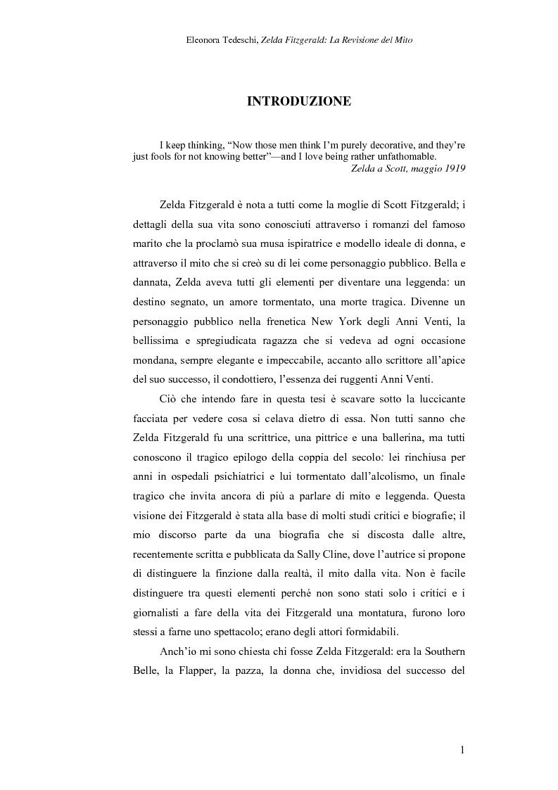 Anteprima della tesi: Zelda Fitzgerald: La Revisione del Mito, Pagina 1